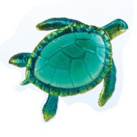 """16"""" Green Glass and Metal Sea Turtle Plaque"""