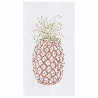 """27"""" x 18"""" Green and Brown Embroidered Pineapple Kitchen Towel"""