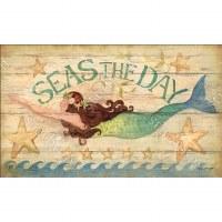 """18"""" x 30"""" Multicolor Seas The Day Mermaid Doormat"""