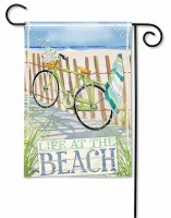 "18"" x 12"" Mini Multicolor Life at The Beach Bicycle Garden Flag"