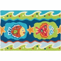 1 ft. 9 in. x 2 ft. 9 in. Multicolor Fun Fish Ocean Waves Rug