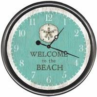 "23"" Round Aqua Green Welcome To The Beach Sand Dollar Clock"