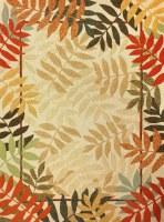 "84"" x 60"" Beige Multicolor Painted Rainforest Rug"