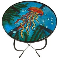 "24"" Round Glass and Metal Orange and Blue Jellyfish Table"