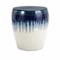 "16"" Round Dark Blue Drip and Distressed White Finish Ceramic Stool"