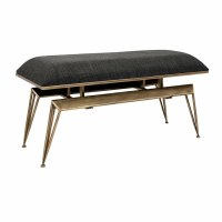 """40"""" Distressed Gold Finish Metal and Fabric Cushioned Contemporary Bench"""