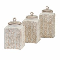 """11"""" Set of 3 Square Beige Textured Ceramic and Wood Lid Canisters"""