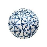"4"" Blue and White Flower Grid Ceramic Orb"