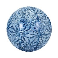 """4"""" Blue and White Geometric Facets Ceramic Orb"""