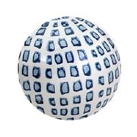 "4"" White and Blue Squares Ceramic Orb"