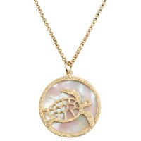 """20"""" Gold Metal Openwork Sea Turtle and Shell Disc Necklace"""