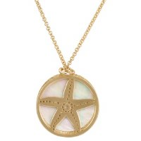 """20"""" Gold Metal Openwork Starfish and Shell Disc Necklace"""