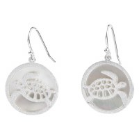 """1"""" Silver Metal Openwork Sea Turtle and Shell Disc Earrings"""