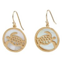 """1"""" Gold Metal Openwork Sea Turtle and Shell Disc Earrings"""
