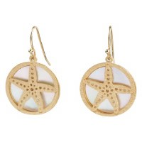 """1"""" Gold Metal Openwork Starfish and Shell Disc Earrings"""