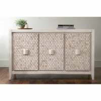 """60"""" White Angle Textured Wood Fulton Cabinet Console"""