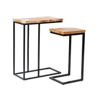"""26"""" Set of 2 Metal and Wood """"C"""" Tables with White Crystal Inlay"""