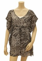 """41"""" x 32"""" Medium Black and White Coral Reef Drawstring Coverup"""
