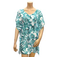"34"" Large Teal Tropical Floral Drawstring Chiffon Cover Up"
