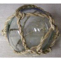 """5"""" Clear Glass Orb with Buri Rope Weave"""