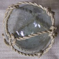 """4"""" Clear Glass Orb with Buri Rope Weave"""