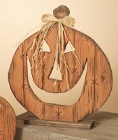 "15"" Wood Pumpkin Figurine With Raffia Bow"