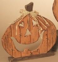 "13"" Wood Pumpkin Figurine With Raffia Bow"