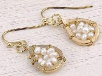 """1"""" White Pearl and Gold Teardrop Earrings"""