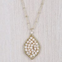 """33"""" Gold Chain Olivia White Pearl Leaf Necklace"""