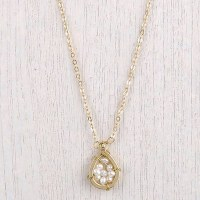 """18"""" Gold Chain Ainsley White Pearl Teardrop Necklace"""