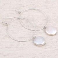"3"" Gold Chelsea Hoop Earring with Freshwater Pearl Medallion Drop"