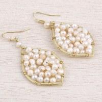 "1"" Gold Metal Wire White Pearl Leaf Earrings"