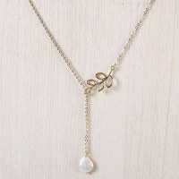 """20"""" Gold Lariat Leaf Chain Necklace with Pearl Drop"""