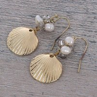 "1"" Gold Metal Shell Topaz Crystal Freshwater Pearl Earrings"