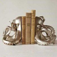 "7"" Set of 2 Metallic Silver Octopus Bookends"