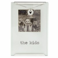 """2.5"""" x 2.5"""" Metal and Glass The Kids Photo Heart Clip Frame"""
