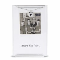 "2.5"" x 2.5"" Metal and Glass You're The Best Photo Heart Clip Frame"