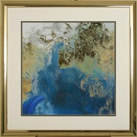 "40"" Square Blue and Gold Ocean Splash Framed Canvas Print Under Glass"