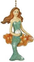 "2"" Mermaid With Pearl Fan Pull"