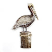 """20"""" Capiz Shell Pelican on Piling Plaque with Rope Accent"""