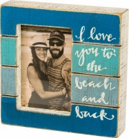 "4"" x 6"" Square Blue Ombre Love To The Beach and Back Slat Wood Photo Frame"