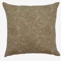 "17"" Square Driftwood Beige Palm Beach Pillow"