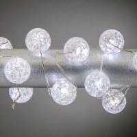 "40"" Cool White Crackled Frost Orb 20 LED Light String"