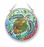 "5"" Medium Round Multicolor Sea Turtle Reef Glass Suncatcher"