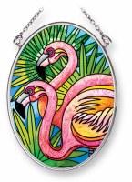 "5"" x 3"" Small Oval Multicolor Flamingo Pair Glass Suncatcher"