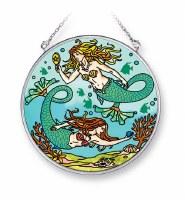 "5"" Medium Round Multicolor Mermaids at Play Glass Suncatcher"
