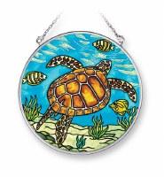 "5"" Medium Round Multicolor Sea Turtle Swim Glass Suncatcher"