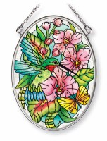 """5"""" x 3"""" Small Oval Multicolor Orchids and Hummingbirds Glass Suncatcher"""