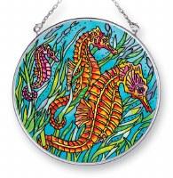"""5"""" Medium Round Multicolor Orange Seahorse Glass Suncatcher"""