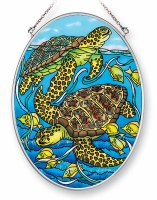 """7"""" x 5"""" Medium Oval Multicolor Green Sea Turtle Pair Glass Suncatcher"""